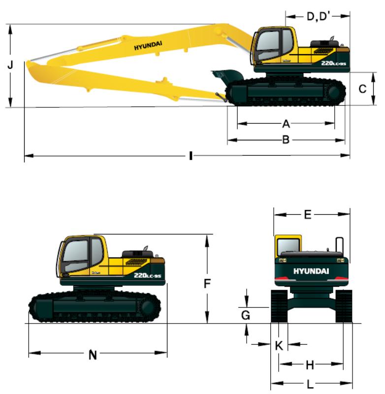 Габаритные размеры R220LC-9S LR